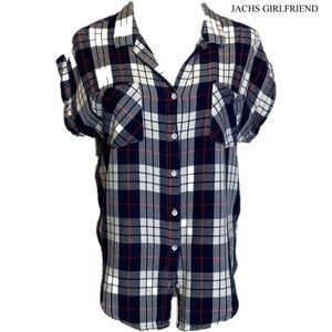 Jachs Girlfriend Women Short Sleeve Shirt Plaid L